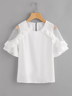 abd0efcfb209d Dotfashion Sheer Insert Frill Trim Blouse 2018 New Fashion White Round Neck  Short Sleeve Women Top Summer Casual Blouse
