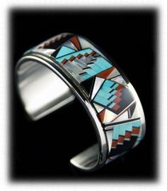 Native American Turquoise Jewelry - Zuni Inlay Bracelet