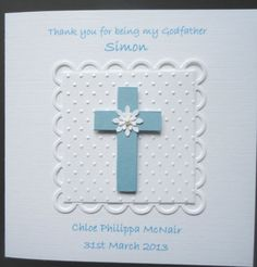 PERSONALISED HANDMADE Baby Boy Christening/Baptism/Naming Day or Thank You Card