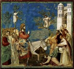 Jesus Enters Jerusalem - Giotto This version, of the triumphal entry into Jerusalem, is by Giotto di Bondone. It is the image of a fresco, created between from Scenes from the Life of Christ at the Arena Chapel (Cappella Scrovegni) in Padua, Italy. Renaissance Kunst, Renaissance Paintings, Italian Renaissance, Italian Painters, Italian Artist, Jesus Enters Jerusalem, Life Of Christ, Jesus Christ, Palm Sunday