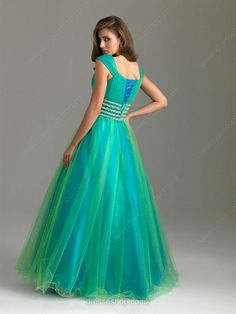 Ball Gown Lace-up Tulle Beading Square Neckline Cap Straps Prom Dress - dresseshop.co.uk