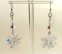 Free pattern for snowflake earrings