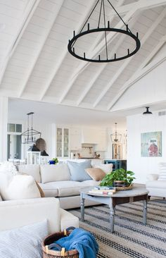 White house living room decor - open concept - white kitchen