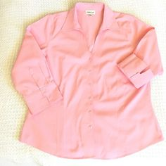 Coldwater Creek light pink botton down shirt Very pretty light pink, soft V neck, has a very clean look, like new worn only once. If you have any questions, please ask, I am always happy to help, I will reply as soon as possible. ☺️ Coldwater Creek Tops Button Down Shirts