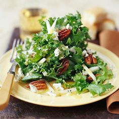 Pear-Blue Cheese Salad              The peppery flavor of curly endive makes a serendipitous match with sweet fresh pear slices and tangy blue cheese. Pecans cooked with salt, butter, and sugar add delicious crunch