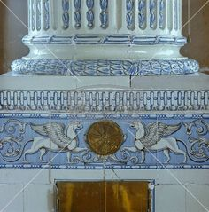 Detail of a late Gustavian blue and white tiled stove (c. 1795) shaped