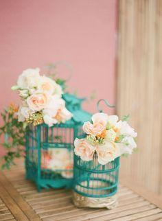 teal wedding birdcage   Photography Jada Poon Photography