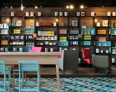 Coffee shop interior design -  shelving for books and games