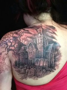 If you are in search of a mystical subject for your next tattoo then here you will find some of the most impressive graveyard and cemetery tattoo designs to choose from. This weird subject enjoys immense popularity. Mark Tattoo, Raven Tattoo, Tattoo You, New Tattoos, Cool Tattoos, Tattoo Pics, Skull Tattoos, Haunted House Tattoo, Castle Tattoo