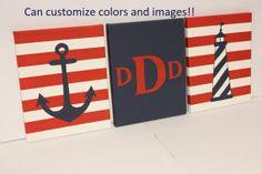 nautical nursery personalized monogram painting initial or name boy girl nautical decor anchor sailboat whale ship wheel boat steering wheel on Etsy, $50.00