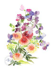 Yao Cheng Design - Sweet Dahlias - Watercolor Art Print