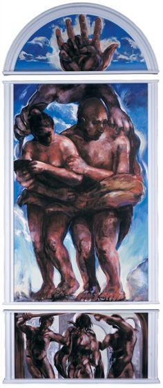 """Bruce Herman (1996) Lanesville Murals. """"In Wrath, Remember Mercy"""" - Adam and Eve Sent Out</span> 1996, oil on wood, triptych; 136"""" x 60"""", available"""