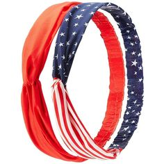 Charlotte Russe American Flag & Solid Head Wraps - 2 Pack ($6.99) ❤ liked on Polyvore featuring accessories, hair accessories, red combo, twisted headband, charlotte russe, american flag headband, head wrap hair accessories and charlotte russe headbands