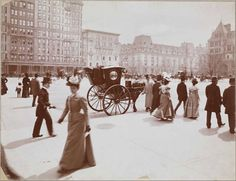 New York Grand Army Plaza, Fifth Avenue and 59th Street, 1897. The original Plaza Hotel building is out of view to the right. The Cornelius Vanderbilt II house can be glimpsed at far right, with the 2nd Empire style Marble Row beyond, built by Edith Wharton's redoubtable aunt Mary Mason Jones. JC