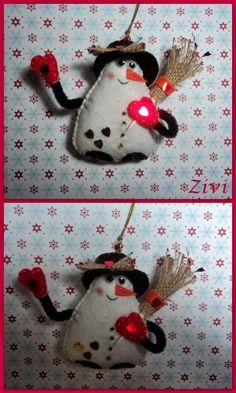 El Rinconcito de Zivi: muñecos de nieve para árbol de navidad hechos de f...