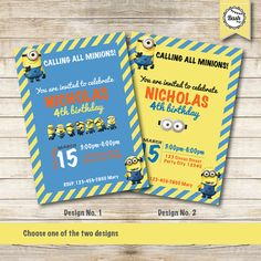 Despicable Me - Minions Party Printable Invitation - Party Printable - 1