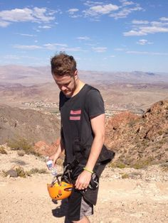 Dan of Imagine Dragons zip lining in Vegas on the day off