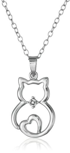 Sterling Silver Diamond-Accented Cat Pendant Necklace, 18""