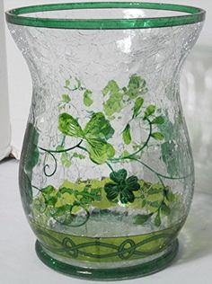 Yankee Candle Hurricane Jar Holder Lucky Shamrocks 2016 Green Cracked Glass