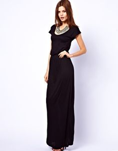 Warehouse Satin Pocket T-Shirt Maxi Dress