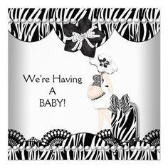 We're Having A BABY! Black White Zebra Expecting Invitations