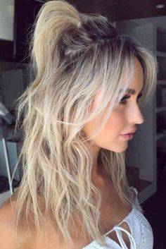 Messy Half-Up Pony With Layered Center Parted Bang # Hairstyles with bangs 18 Beautifying Hairstyles To Mask Big Forehead And Be On Point Long Hair With Bangs, Easy Hairstyles For Long Hair, Hairstyles With Bangs, Cool Hairstyles, Beautiful Hairstyles, Half Pony Hairstyles, Bangs Updo, Cute Hairstyles For Medium Hair, Thick Hair