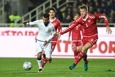Luca Garritano (L) of Italy is challenged by Patrick Banggaard of Denmark during the International Friendly match between Italy U21 and Denmark U21 at Stadio Atleti Azzurri d'Italia on November 14, 2016 in Bergamo, Italy.