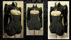 Military gray playsuit steampunk bloomers by blackmirrordesign