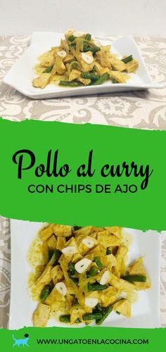 Pollo al curry con chips de ajo