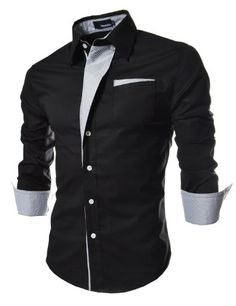 TheLees Mens Casual Long Sleeve Stripe Patched Fitted Dress Shirts Black X-Large(US Medium)