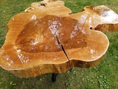 Live Edge Natural Maple Table with Epoxy Finish - 32in - 36in Round Live Edge Slab Wood Coffee Table - Cocktail Table - Round Slab Wood by InterestingAmericana on Etsy
