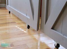 *Good ideas for Sliding Door project  DIY Simple Sliding Barn Doors | TheTurquoiseHome.com