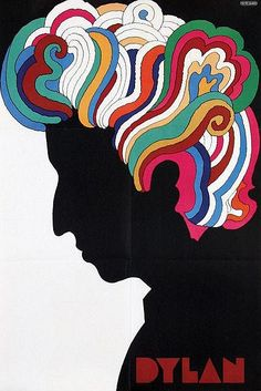 """Used in Dylan's Greatest Hits album (1996). By Milton Glaser. From his book, Graphic Design: """"In addition to the Duchamps silhouette, the other significant graphic element in this piece is the quality, shape, and color of the hair. In some ways these elements were influenced by my interest in Islamic painting. As I mentioned earlier in the introduction, the combination of the Duchamps portrait and Near Eastern design elements produced a style some now consider peculiarly American."""""""