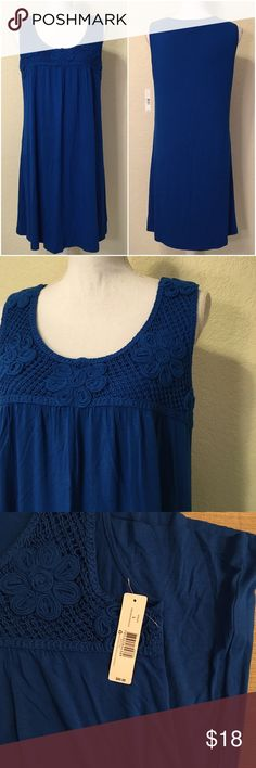 """NWT Blue Floral Accent Shift Dress NWT New Directions Blue Floral Accent Shift Dress.  Size L.  MSRP $60.  Length top of shoulder to hem: 36"""".  Bust: 38"""".  Waist: 44"""".  Hips: 46"""".  Bottom of dress: 52"""" around.  95% viscose, 5% spandex – soft jersey material.   Machine wash or dry clean.      Love it but not the price - I'm open to (reasonable) offers or consider bundling 2 or more items for an additional 15% off and combined shipping!  Check out my reviews - I only sell great quality items…"""