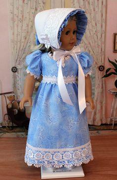 Regency Gown and Bonnet for AG Caroline by BabiesArtUs on Etsy, $65.00