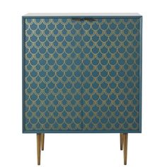 Turquoise Blue 2-Door Sideboard with Gold Graphic Print | Maisons du Monde