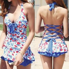 Women Halter Sexy Strawberry Print Bow One Piece Dress Swimsuits Ladies Cute Bathing Suits Swimwear blue-in One-Piece Suits from Sports & Entertainment on Aliexpress.com | Alibaba Group