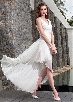 Chiffon A-line V-neck Neckline Raised Waistline Hi-lo Wedding Dress