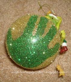 Fun Handprint and Footprint Art : Sparkly Glitter Handprint Ornament Christmas Handprint Crafts, Handprint Art, Preschool Christmas, Christmas Crafts For Kids, Christmas Activities, Christmas Projects, Winter Christmas, Holiday Crafts, Holiday Fun