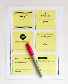 DIY: Cute Post-it Notes - Free Printable Surprise somebody with messages left in drawers, stuck on mirrors, or hidden in suitcases with this printable template. You can print the page on colored paper. Diy Projects To Try, Craft Projects, Craft Ideas, Notes Free, Paper Crafts, Diy Crafts, Planners, Free Printables, Printable Tags