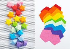 rainbow diy paper project torn from the sky diy fold Folded Paper Stars, 3d Paper Star, Origami Lucky Star, Origami Stars, Origami Flowers, Origami Paper, Diy Paper, Origami Boxes, Dollar Origami
