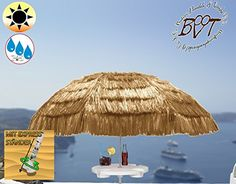 XXL Parasol with Coffee Table, Hawaii Style Beige White, Extreme Weather Resistant for Caribbean Holiday Home, approx. 180 cm – 200 cm Heavy Duty an XXL Folding Umbrella Folding Parasol Sun Shade Garden Outdoor Beach Picnic Camp Fire, Portable, Sea Water, High Quality Tough Rugged HEAVY DUTY Umbrella Folding Umbrella, Beach Umbrellas, Sun Umbrellas, Sun Umbrella, Sun Protection