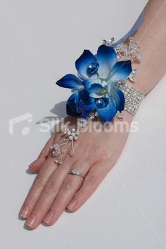 Modern Galaxy Blue Orchid Satin Mini Rose Wedding Wrist Corsage