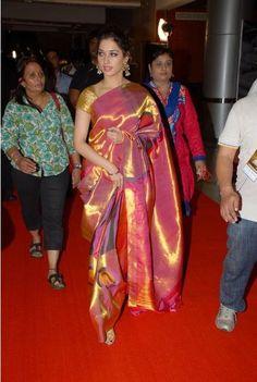 This kanjeevaram sari is like a sunset made of silk.