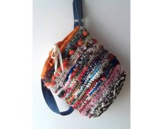 Crochet Bucket Bag / Shoulder Bag / Colorful Crochet Purse / Sustainable Fashion Shoulder Bag / Earth Friendly Bucket Bag / Drawstring Purse