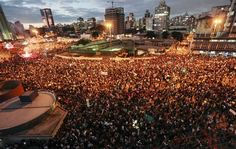 Thousands of students and people take part in a protest in Sao Paulo, Brazil on June 17, 2013, against a recent rise in public bus and subway fare from 3 to 3.20 reais (1.50 USD) and the use of public funds for international football tournaments. via RT