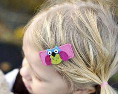 Felt hair clip No slip Wool felt Hoot owl lilac by MayCrimson