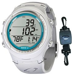Oceanic Geo 2.0 Air/Nitrox Scuba Diving Computer Watch - White/Sea Blue Decal w/ ShootingUnderwater Retractor Clip - http://scuba.megainfohouse.com/oceanic-geo-2-0-airnitrox-scuba-diving-computer-watch-whitesea-blue-decal-w-shootingunderwater-retractor-clip/
