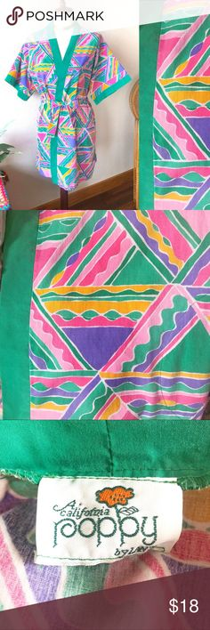 True Vintage 70s Geometric Rainbow Print Robe! This print! Such a sweet piece. True vintage 70s/80s robe in excellent condition! Features a rainbow colored funky geometric print & emerald green trim on front & sleeves. Has matching belt to tie :) Two front pockets. Comfy & soft.   Condition: 9.5/10 - amazing vintage condition! A tiny little bit of a fading, but nothing major.   Size: can fit anyone from an XS to Large :)  💖Offers welcome!💖20% off BUNDLES!💖  Tags: pajamas nightgown color…
