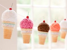 Make this sweet Ice Cream Cone Garland with yarn and balls of Styrofoam brand foam....Too cute!!